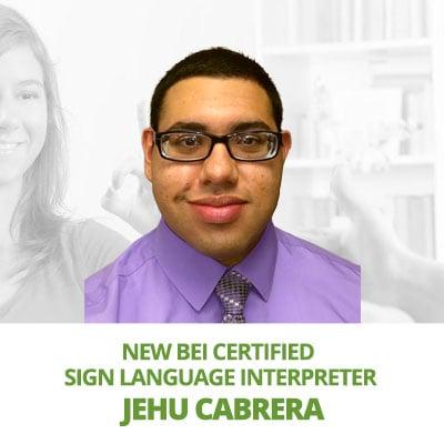 New BEI Certified Interpreter, Jehu Cabrera