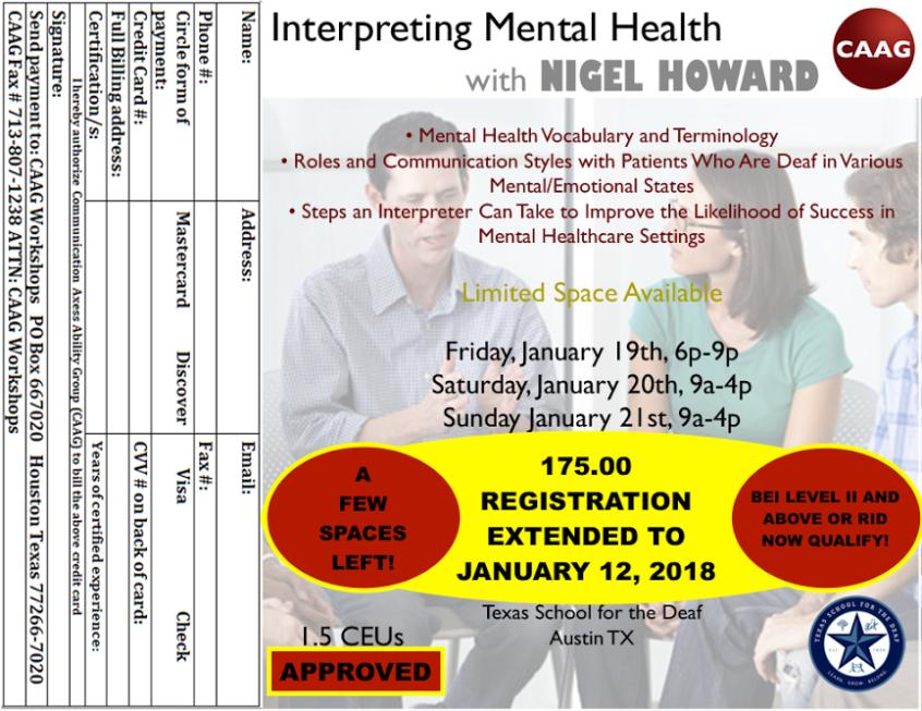 Workshop Registration Deadline Extended Sign Language Services